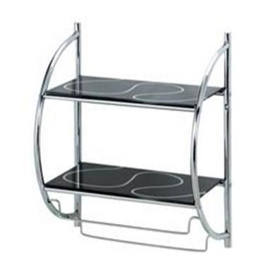 Metlex Wand-Badregal mit 2 Regalen aus schwarzem Glas und Handtuchhalter MX3118 - 2 Regal Glas Regal