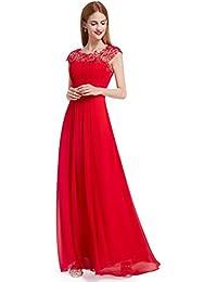 c57b88d67a5e Ever-Pretty Vestito da Sera Donna Lungo in Chiffon Maniche Corte Impero in  Pizzo 09993
