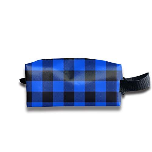 1,5 blau und schwarz Buffalo Check_22900 tragbare Reise Make-up Kosmetiktaschen Organizer Multifunktions Tasche Taschen für Unisex -