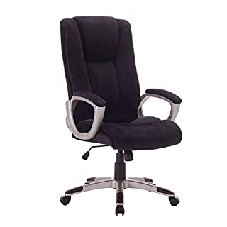 Office Outlet DAMASK Computer Desk Swivel Chair - Adjustable Height - High Back - Headrest - Tilt Function - Black
