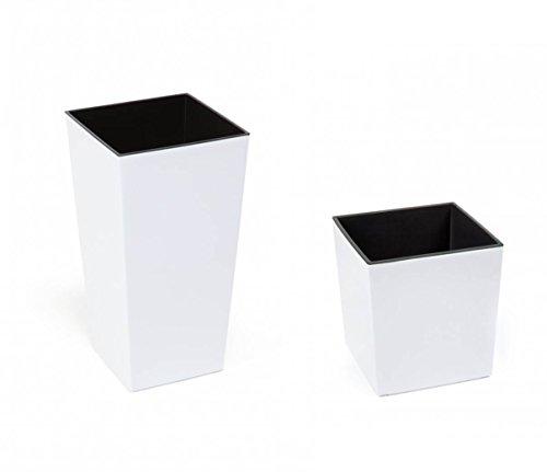 Kreher 2 Stück XXL Design Pflanztöpfe aus Kunststoff in Hochglanz Weiß mit Herausnehmbaren Einsatz. Maße BxTxH in cm: 40 x 40 x 75,3 cm (großer Planztopf), 40 x 40 x 41,5 cm (Flacher Pflanzübel)