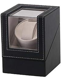 OSVINO Ecrin Remontoir 1 Montre Automatique Boîte Délicat Cuir PU Vitrine Acrylique Bijoux Rotation Silencieux Coffret Cadeau Adaptateur AC100-240V EU/Piles AA Anti Magnétisée,Noir