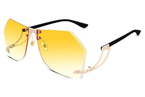 FEISEDY Randlos Groß Sonnenbrille Damen Vintage Übergröße Gradient Brillen
