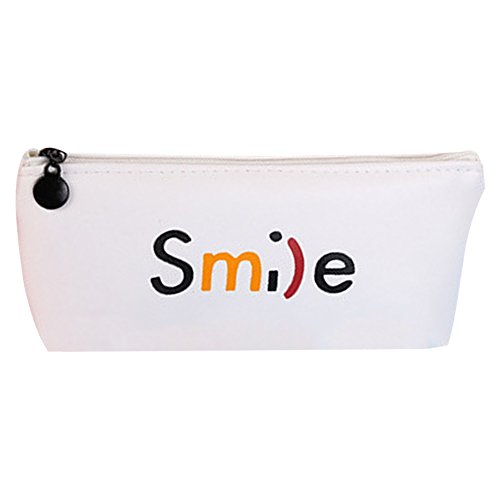 weimay Smiling Letter Cute Trapezoid Pen Brushes Maquillage Crayon Housse de feutre Canvas Holder Bag Holder for Students School Supplies Tool (Blanc B)