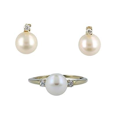 Parure en or jaune 14 carats avec des perles de culture et des zircons - Gioiello Italiano