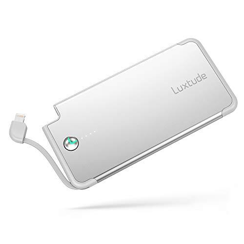 Luxtude Ultra Sottile e leggera Batteria esterna 5000mAh con Cavo Lightning Integrato, Caricabatterie Portatile Carica Veloce per gli Utenti iOS con iPhone X, iPhone 8, 8 Plus, iPhone 7, 7 Plus, iPhone 6, 6s (argento)