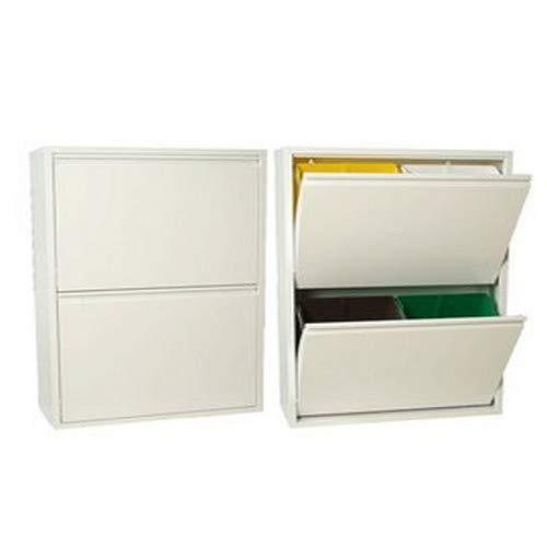 DONREGALOWEB Mueble Papelera Reciclaje Blanco semibrillo Apertura Individual 60x25x92cm
