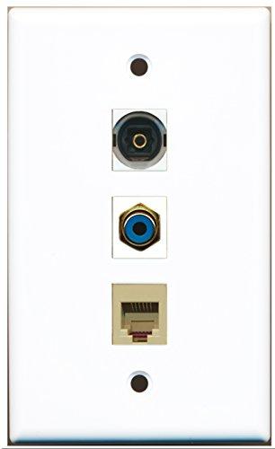 RiteAV-1Port RCA blau und 1Port Telefon RJ11RJ12beige und 1Port Toslink - -