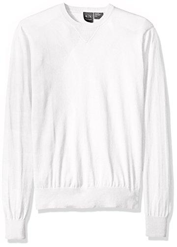 Armani Weiß Langarm (Armani Exchange Herren Langarm-Pullover Rundhalsausschnitt Strick Slim Fit - Weiß - Klein)