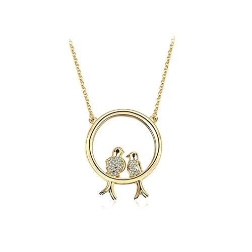 Epinki Vergoldet Damen Anhänger Halskette Zwei Vogel Cubic Zirkonia Gold 3.9x3.9 (Boxer Lustige Kostüme Hund)