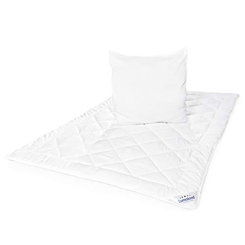 Lumaland Deluxe Bettwaren Set Ganzjahr Mikrofaser Bettdecke und Kopfkissen 155 x 220 cm Weiß