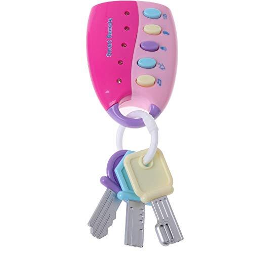 Moda Musica Smart Remote Car Key giocattolo del bambino giocattolo intelligente giocattolo chiave a distanza analogico Car Sound Effect telecomando senza batteria rosa 1