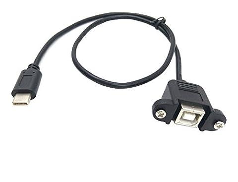 Maxhood Câble de type C à type B, 50CM / 1.7ft USB-B (Type B) Femme à US-C (Type C) Adaptateur de synchronisation et chargeur masculin Imprimante et scanner Câble avec vis Montage sur panneau (panneau à vis B / C)