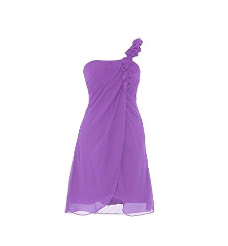 YiYaDawn Kurzes Ballkleid Brautjungfernkleid Eine-Shulter Kleid füt Damen Lavendel
