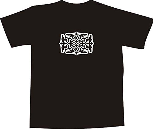 T-Shirt E1110 Schönes T-Shirt mit farbigem Brustaufdruck - Logo / Grafik / Design - abstraktes Ornament mit schönen Ranken und Blättern Schwarz
