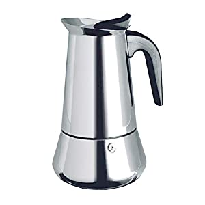 YIQIAODS 6-Cup Stovetop Espresso Maker Coffee Pot Machine Polished Stainless Steel with Permanent Filter and Heat Resistant Handle - Perfect for Home and Office Use