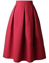 Faldas Mujer Elegantes Cintura Alta Falda Plisada Años 50 A-Line Vintage  Moda Color Solido Faldas Midi Falda Medium… a33fd517064b