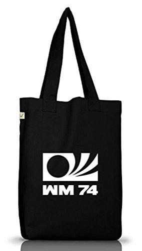 Shirtstreet24, Em / Wm 16 - Wm 1974, Jutebeutel Stoff Tasche Earth Positivo (taglia Unica) Nero
