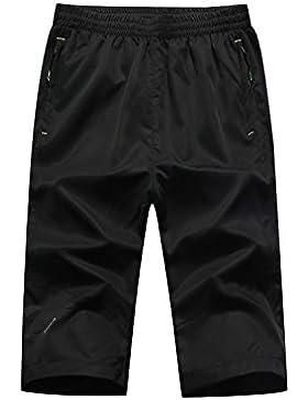 DULEE - Pantalones Cortos de Natación para Hombre, Talla Grande, para Verano, Playa, Secado Rápido, Large, Negro