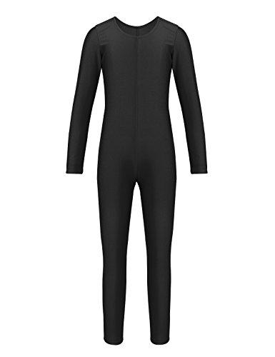 Tiaobug Unisex Kinder Spandex Langarm Ganzanzug Kostüm Jumpsuit Overall Catsuit für Party Cosplay Bodysuit Karneval Faschingskostüm Schwarz 128-140