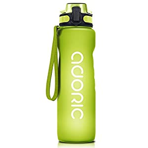 ADORIC Sports Water Bottle, BPA Free Tritan Non-Toxic Plastic Sport Water Cup, Durable Leak Proof Water Bottle with Filter, Flip Top (Green-500ML)