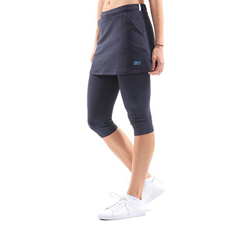 Sportkind Mädchen & Damen Tennis/Hockey/Running 2-in-1 Rock mit Leggings, navy blau, Gr. 152