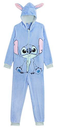 Disney Stitch Onesie, Schlafanzug Jumpsuit Damen Lang, Fleece-Pyjama für Damen und Herren, Kuscheliger Tier Cartoon Playsuit Kostüme Pyjamas Super Weiches Fleece, Geschenke Fans (L)