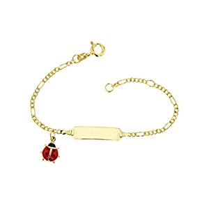 Baby ID-Armband 585 Gold 14 cm Schmuck Gelbgold Figaro mit Marienkäfer *inkl. Gravur* Made in Germany 5.5305224