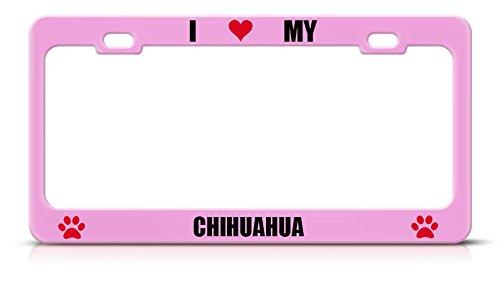 Nummernschild mit Aufschrift I Love My Dog Chihuahua, weich, Rosa, strapazierfähig, Metall, ideal für Männer und Frauen Maroon Rim