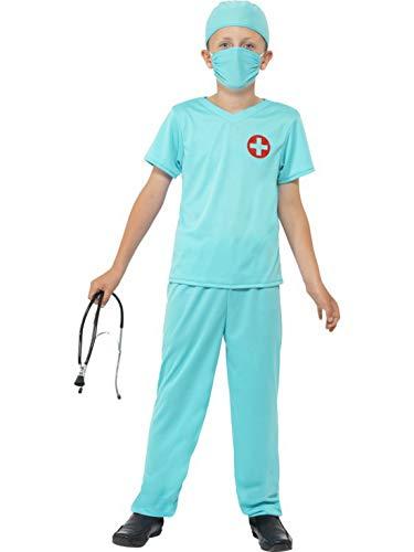 Naughty Kostüm Arzt - Halloweenia - Jungen Kinder Doktor Arzt Chirurgen Kostüm mit Oberteil, Hose, Mütze, Atemschutz und Stethoskop, perfekt für Karneval, Fasching und Fastnacht, 140-152, Grün