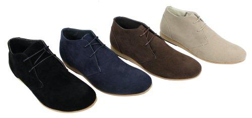 Chaussures homme Noir Beige marron bleu marine Boots simili daim hauteur chevilles Beige