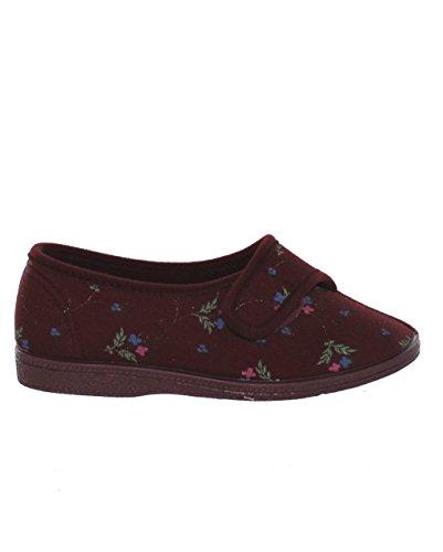 Sleepers Dora - Pantofole da donna a pianta larga, con chiusura in velcro, motivo floreale, lavabili in lavatrice, colore vinaccia (Wine Floral)