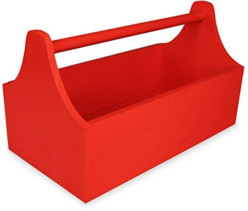 LAUBLUST Große Werkzeugkiste mit Griff - 34 x 18 x 20 cm, Rot, FSC®   Aufbewahrungs-Kiste aus Holz   Geschenkverpackung   Blumen-Kasten   Dekobox   Bastel-Kasten   Spielzeugtrage   Flaschen-Korb