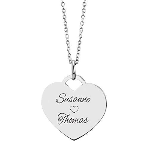 URBANHELDEN - Herzkette mit Wunschgravur - Damen-Kette Namenskette mit 2 Namen - Amulett in Herzform - Personalisierte Kette Herz Anhänger - Silber