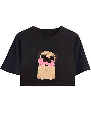 men Sommer, Teenager Mädchen Ugly Mops Pugs Druck Bauchfrei Oberteile Niedlich Hund Sport Blusen Shirt Hemd Kurzes Tank Top Frauen Kurzarm T-Shirt Pullover Sale (B-Schwarz,XS) ()