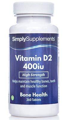 Vitamina D2 400iu - 360 Comprimidos - Hasta 1 año de suministro - Conocida como la vitamina del sol - SimplySupplements