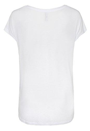 Sublevel Damen T-Shirt mit Einhorn-Print   Lockeres Oversize Shirt mit Unicorn Aufdruck White