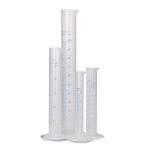 Pixnor Éprouvette cylindrique graduée cylindre Lab Test Tube Set de 4