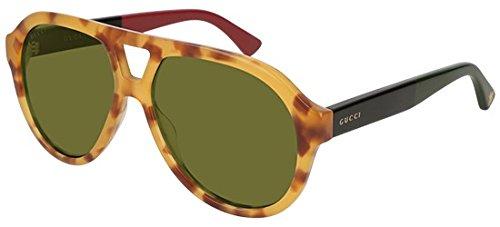 Gucci Unisex-Erwachsene GG0159S 005 Sonnenbrille, Braun (5/Green), 56