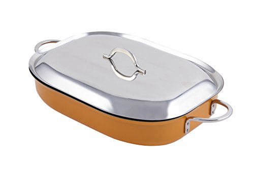 "Bon Chef 60023CFCLDOrange Stainless Steel Induction Bottom Classic Country French Oblong Pan with Lid, 5 quart Capacity, 15"" Length x 11"" Width x 3"" Height, Orange"