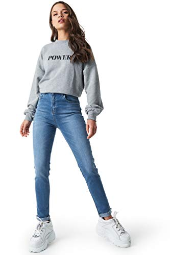 NA-KD - Damen Skinny Jeans Raw Hem Jeanshosen Blau
