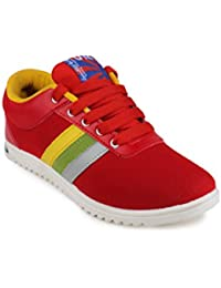 11E Men's Yellow Red Canvas Sneakers