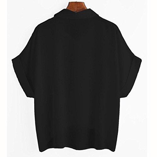 Bekleidung Longra Damen Sommer Blusen Rose Blume Tops Kurzarm Shirt Black
