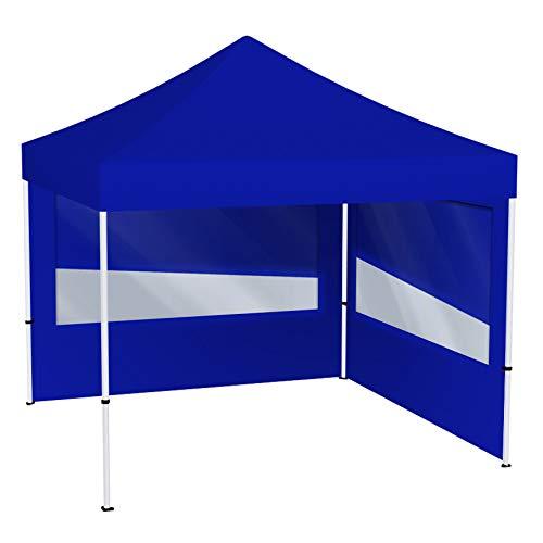 Vispronet® Faltpavillon Eco 3x3 m ✓ 2 Zeltwände mit Panoramafenster ✓ Scherengittersystem ✓ inkl. Dach mit Volant (Blau)