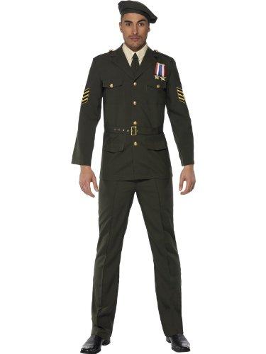 Erwachsene Weltkrieg 2 Für Kostüm - Smiffys Karneval Herren Kostüm Anzug grün Offizier Soldat 2.Weltkrieg Gr.L