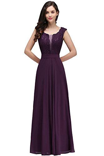 Damen Elegant V-Ausschnitt Spitzen Abendkleid Festkleid Rückenfrei lang Weinrot 40