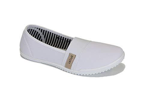 Frentree Damen Sportliche Ballerinas Bequeme Sneaker Slip-Ons, Farbe:weiß, Größe:38 -
