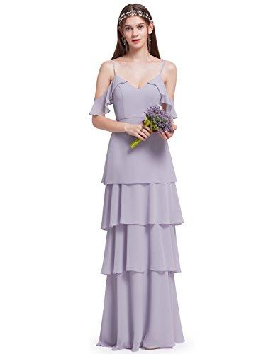 Ever Pretty Frauen elegante V-Ausschnitt Spaghetti Rüschen verstellbare Festkleider Brautjungfern...