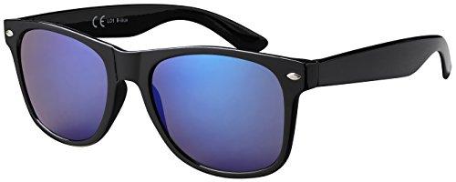 Original La Optica Verspiegelte UV400 Unisex Retro Sonnenbrille Wayfarer - Einzelpack Glänzend Schwarz (Gläser: Blau verspiegelt)