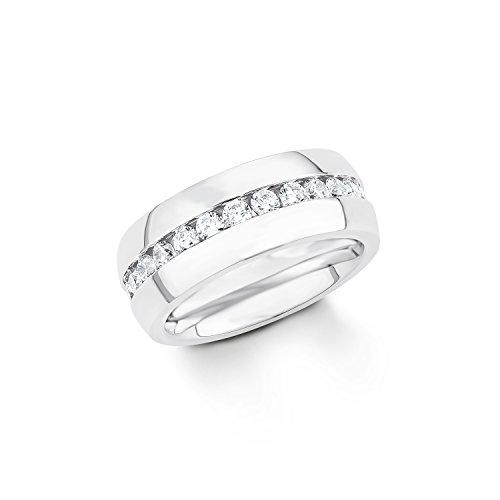 s. Oliver Damen-Ring Edelstahl Zirkonia weiß Rundschliff Gr. 60 (19.1) - 539913